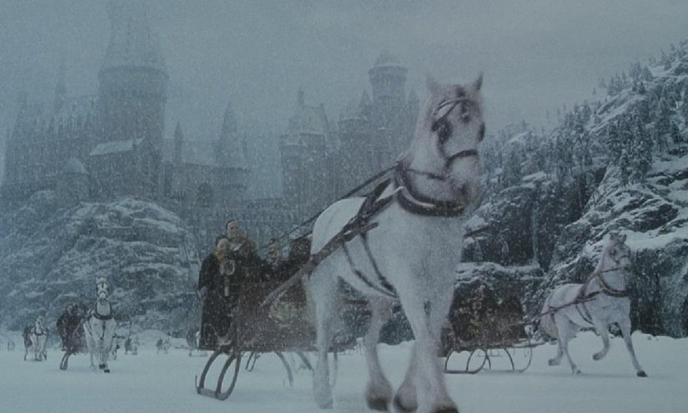 Scéna z Tajemné komnaty (film), ve které v době vánoc táhnou koně kočáry se studenty do Prasinek po zamrzlém jezeře.