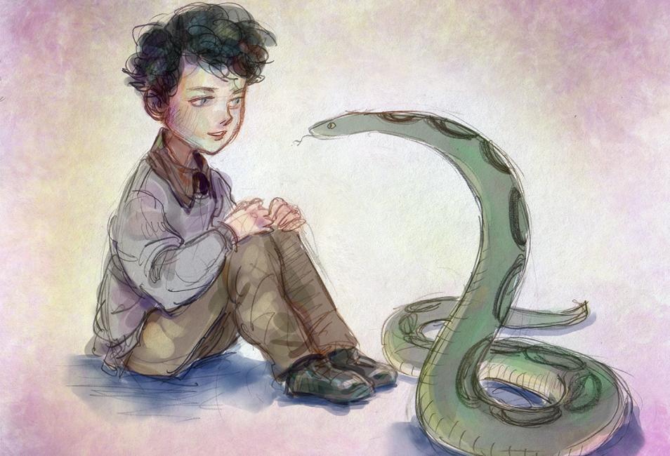 Kreslený fan art. Vlevo sedí černovlasý chlapec, který se dívá na zeleného hada před sebou.