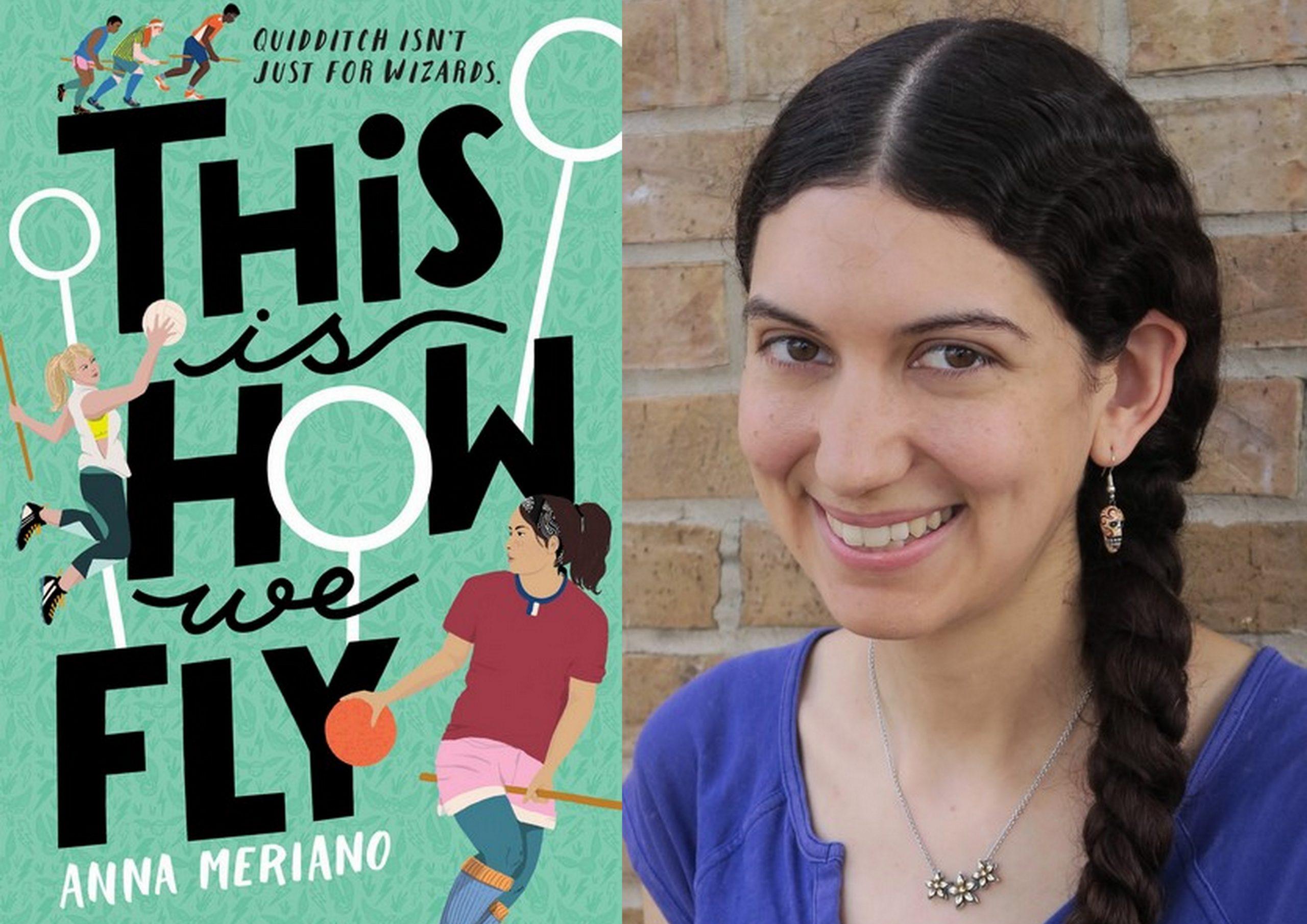 """Obrázek je rozdělen do dvou polí - vlevo je obálka knihy """"This Is How We Fly"""" a vpravo fotografie obličeje Anny, která má přehozený dlouhý cop tmavohnědých vlasů přes levé rameno, má na sobě tmavomodré tričko a stříbrný řetízek kolem krku. Usmívá se na diváka. Za ní je cihlovaná zeď."""