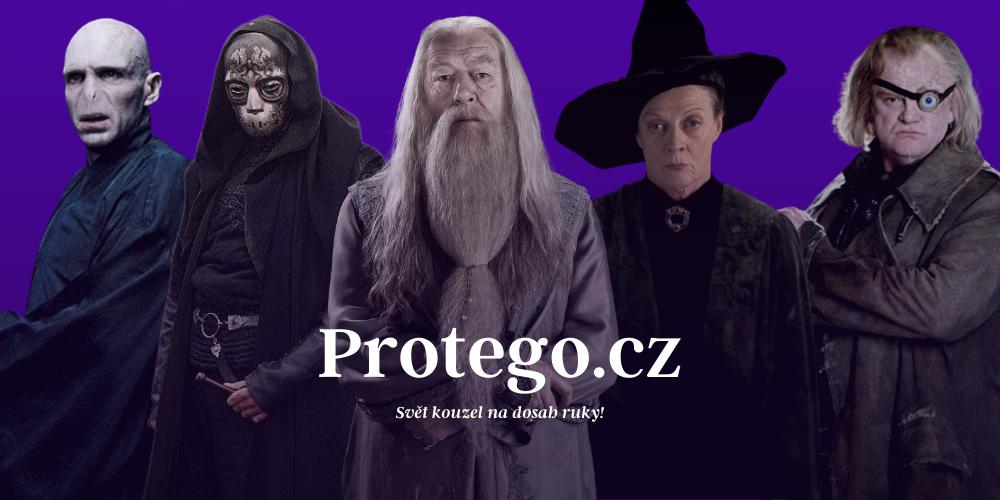 Na fialovém pozadí je pět filmových postav. Uprostřed Brumbál v šedém hábitu, napravo od něj přísně vyhlížející profesorka McGonagallová v černo-zeleném hábitu a vysokým černým kloboukem a ještě vpravo Pošuk Moody se založenýma rukama. Nalevo od Brumbála je maskovaný Smrtijed v černém a úplně vlevo je Voldemort.