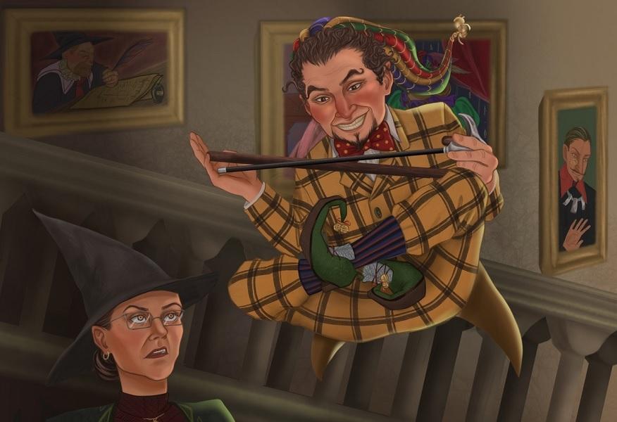 Fanart, na němž je Protiva, který se vznáší uprostřed obrázku ve vzduchu, na hlavě má kašpárkovskou čepici s rolničkami, oblečený do hořčičně žlutého čtverečkovaného obleku (sako a kalhoty) s červeným motýlkem. V rukou má hole. Vznáší se se zkříženými nohami a šibalsky se šklebí na profesorku McGonagallovou, jejíž hlavu vidíme v levé dolní části obrázku. Ta na Protivu nevěřícně kouká s povytaženým obočím.