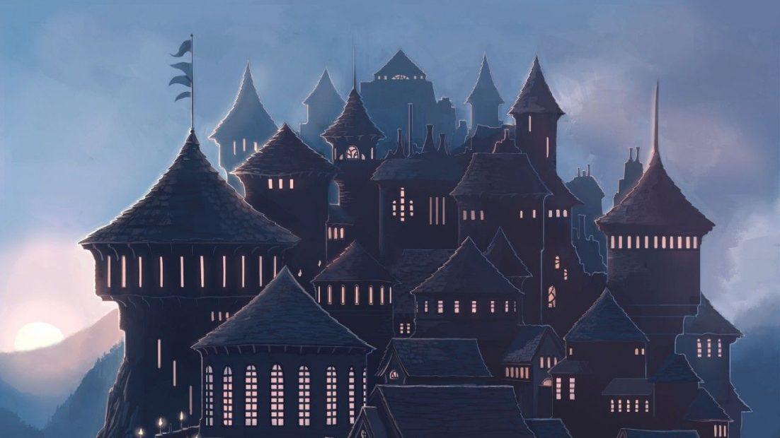 Fan art, který je laděný do fialových barev. Na střed obrázku je spousta věží různých velikostí a tvarů. Každá z nich má po obvodu mnoho osvětlených oken.