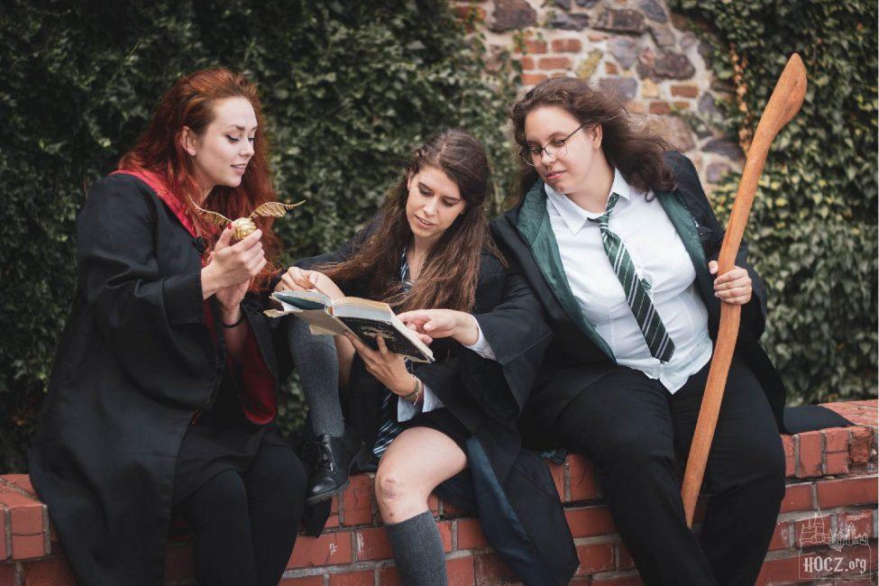 Na fotografii jsou tři čarodějky. Úplně vlevo je rusovlasá nebelvírská čarodějka, která drží v pravé ruce Zlatonku. Dívá se do knihy, kterou drží dlouhovlasá havraspárská studentka. Ta sedí na nízké zídce s pravou nohou pokrčenou. Vpravo je zmijozelská studentka s dlouhými vlasy a brýlemi, která ukazuje na něco v knize havraspárské studentky. V levé ruce drží koště. Za nimi je zídka porostlá břečťanem.